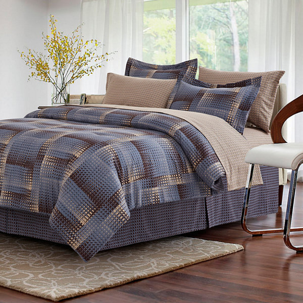 Brown & Grey Shadow Box Complete Bedding Set