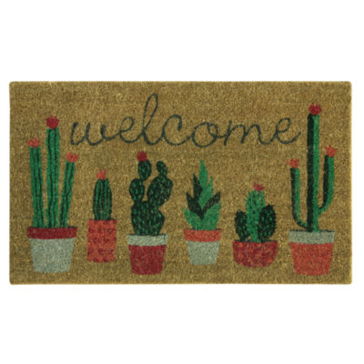 Outdoor Oasis Welcome Cactus Printed Rectangular Outdoor Doormat
