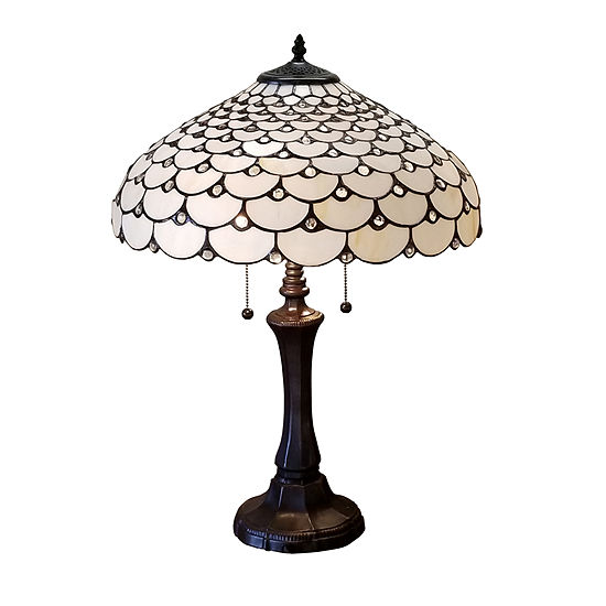 Amora Lighting AM010TL18 Tiffany Style Jeweled Double Lit Table Lamp 3 Light 18-Inch Wide