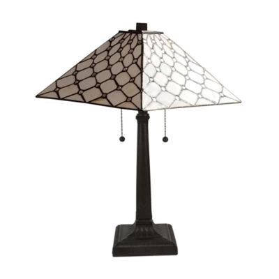 Amora Lighting AM013TL14 Tiffany Style Jeweled Double Lit 3-Light Table Lamp 14-Inch