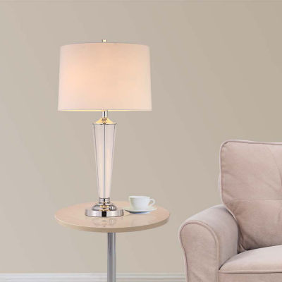 """Tenbury Wells Collection Collection 33""""H Modern Chrome 2-Light LED Crystal Table Lamp with Dimmer"""