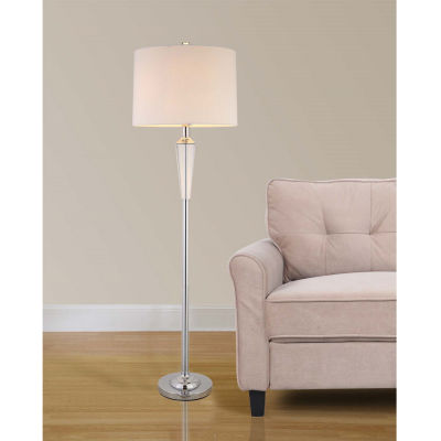 "Tenbury Wells Collection Collection 60""H Modern Chrome 2-Light LED Crystal Floor Lamp with Dimmer"