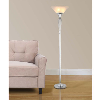 """Tenbury Wells Collection Collection 70""""H Modern Chrome 3-Light LED Crystal Torchiere Floor Lamp with Dimmer"""