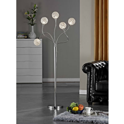 "Tenbury Wells Collection 65""H Modern 5-Light Brushed Steel Crystal Balls Floor Lamp with Dimmer"