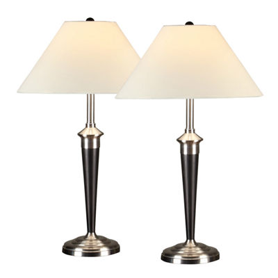 Tenbury Wells Collection 2-piece Classic Cordinates Espresso and Brushed Steel Table Lamps