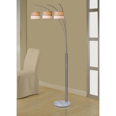 Tenbury Wells Collection Luca 86-inch Contemporary 3-arch Brushed Steel Floor Lamp with Marble Base and Dimmer Switch
