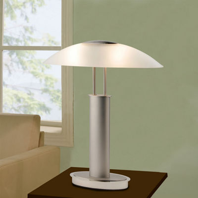 Tenbury Wells Collection Avalon Modern 2-tone Table Lamp with Oval Canoe-shaped Frosted Glass Shade and 3-way Touch Switch