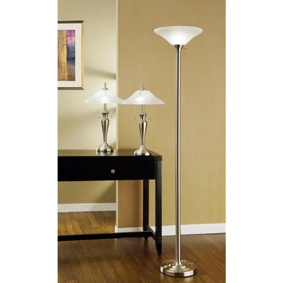 Tenbury Wells Collection 3-piece 71-inch Torchiere and 24-inch Table Lamps with a Brushed Steel Finish and Quality Hammered Glass Shades