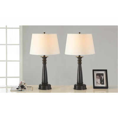 Tenbury Wells Collection 28-inch Classic Antique Bronze Finished Table Lamp with Handpainted Gold Tracing (Set of 2)