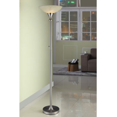 Tenbury Wells Collection 71-inch Compact Fluorescent Torchiere Floor Lamp with Hand-painted Alabaster Glass Shade