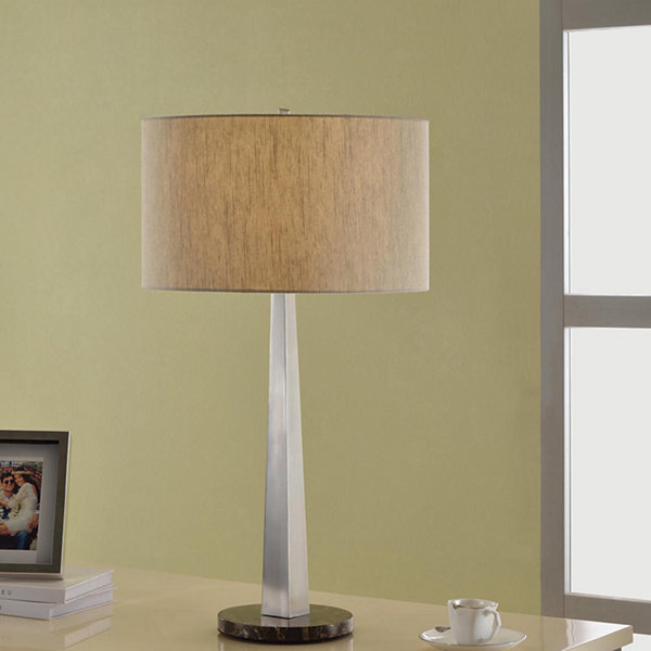 Tenbury wells collection luxor contemporary 32 inch square tapered tenbury wells collection luxor contemporary 32 inch square tapered brushed steel table lamp with aloadofball Image collections