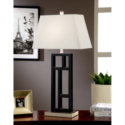 Tenbury Wells Collection Perry Modern 31-inch Black and Brushed Steel Geometric-sculptured Metal Table Lamp with Empire Shade