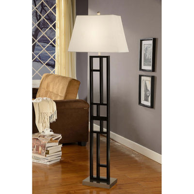 Tenbury Wells Collection Perry 64-inch Geometric-sculptured, Black and Brushed Steel Finished Floor Lamp