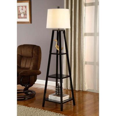 Tenbury Wells Collection Elliot Modern 63-inch Java-black Finish 3-tiered Wood Floor Lamp