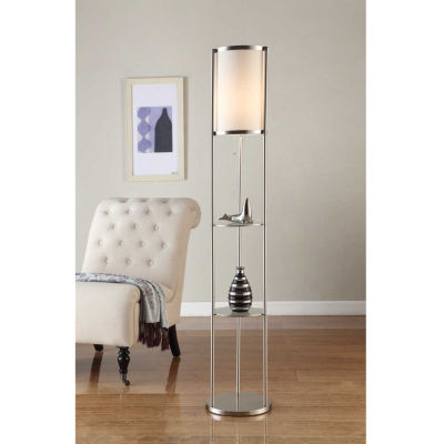 Tenbury Wells Collection Exeter Modern 63-inch Brushed Steel Floor Lamp w/ Glass Shelf