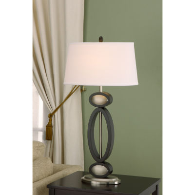 Tenbury Wells Collection Infinity Contemporary 33.5-inch Dark Walnut, Espresso and Brushed Steel Modern Table Lamp