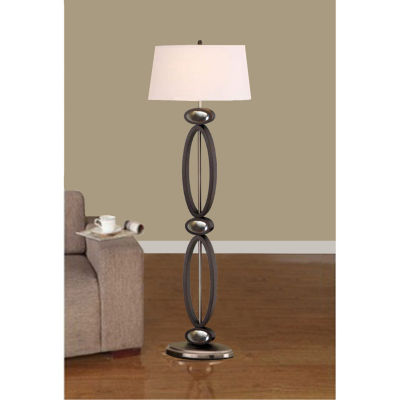 Tenbury Wells Collection Infinity Contemporary 61-inch Dark Walnut, Espresso and Brushed Steel Modern Floor Lamp