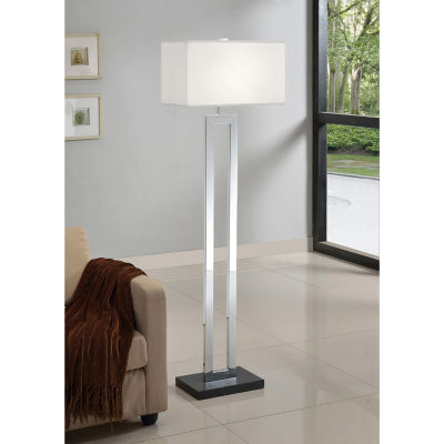 Tenbury Wells Collection Geometric 60-inch Chrome/ Black Contrast Floor Lamp
