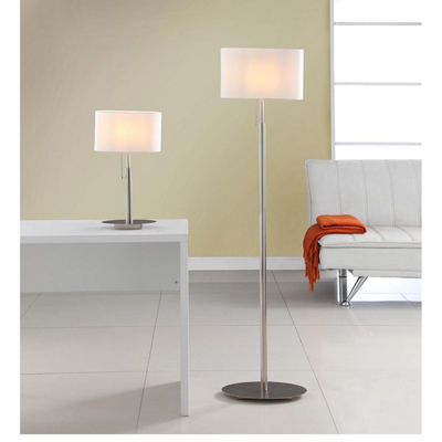 Tenbury Wells Collection 'Audrey' Slim Oval European Design Brushed Steel Table and Floor Lamp Set