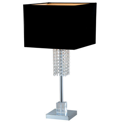 Tenbury Wells Collection Adelyn 27-inch Square Modern Chrome and Black Crystal Table Lamp