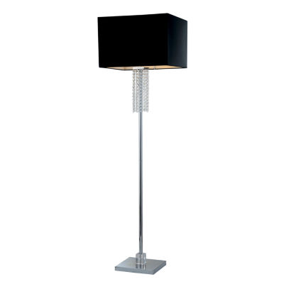 Tenbury Wells Collection Adelyn 63-inch Square Modern Chrome and Black Crystal Floor Lamp
