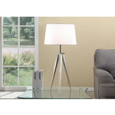 Tenbury Wells 30-inch Brushed Steel Tripod Table Lamp