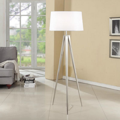 Tenbury Wells 63-inch Brushed Nickel Tripod Floor Lamp