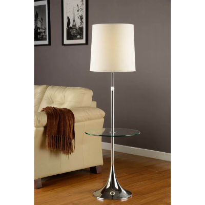 Tenbury Wells Collection Enzo Modern Adjustable 52 to 65-inch Chrome Floor Lamp with Tempered Glass Table