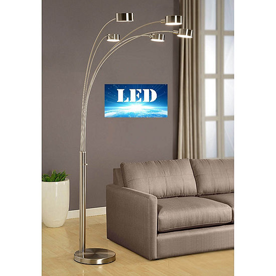 """Tenbury Wells Collection """"Micah Plus"""" Modern LED 88-inch 5-Arched Brushed Steel Floor Lamp with Dimmer"""