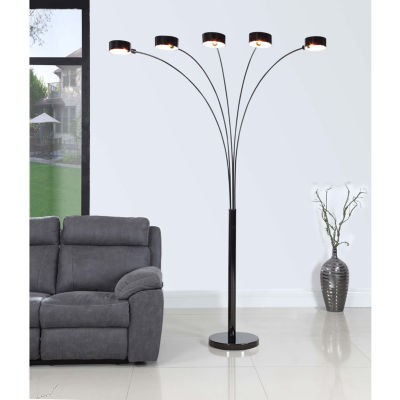 "Tenbury Wells Collection ""MICAH Plus"" Modern LED 88-inch 5-Arched Jet Black Floor Lamp with Dimmer"