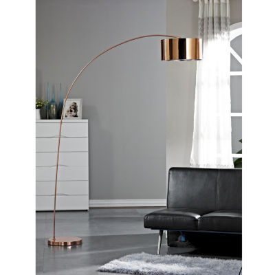 Tenbury Wells Collection ADELINA 81-Inches Rose Copper LED Arched Floor Lamp