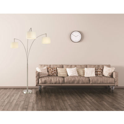 Tenbury Wells Collection Lumiere Modern LED 3-arched Brushed Steel 80-inch Floor Lamp with Dimmer