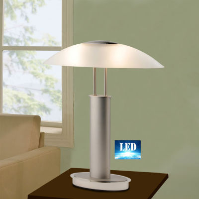 Tenbury Wells Collection 2 Tone Satin Nickel LED Touch Table Lamp with Oval Canoe and Frosted Glass Shade