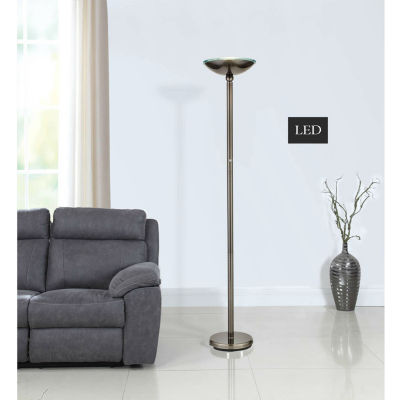 "Tenbury Wells Collection Saturn 71"" Brushed Steel LED Floor Lamp w/ Dimmer"