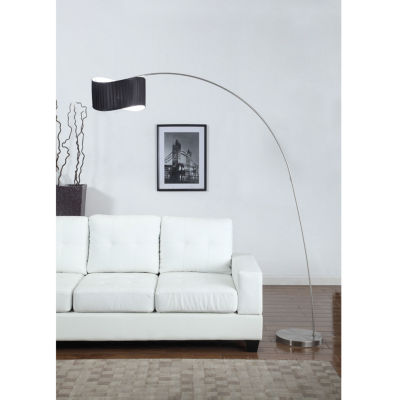 Tenbury Wells Collection 'The Curve' 81-inch Black Curved Shade Brushed Steel Arch Floor Lamp