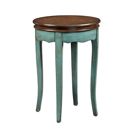 Rachel Distressed Round Accent Table