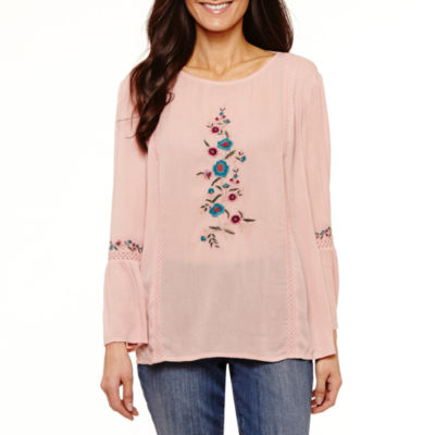 St. John's Bay 3/4 Sleeve Scoop Neck Woven Embroidered Blouse-Petites