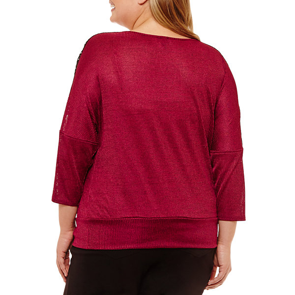 Alyx 3/4 Sleeve Round Neck Knit Blouse - Plus