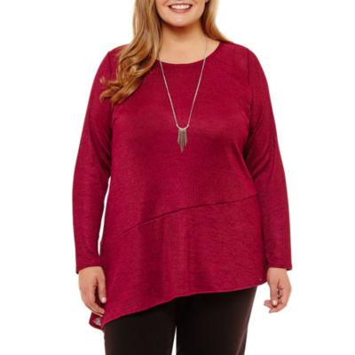 Alyx Long Sleeve Round Neck Knit Blouse - Plus