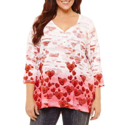 Unity World Wear 3/4 Sleeve Ombre Heart Henley Tee - Plus