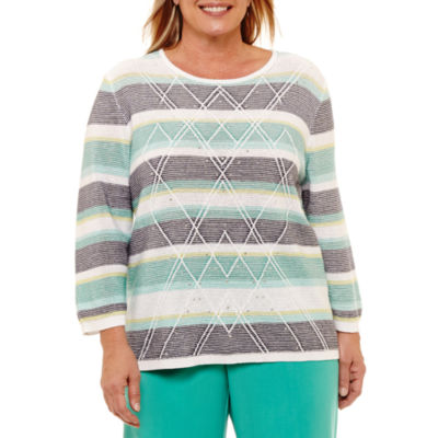 Alfred Dunner Montego Bay Stripe Pullover Sweater-Plus