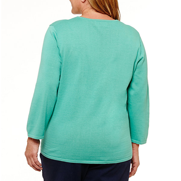 Alfred Dunner Montego Bay Floral Pullover Sweater-Plus