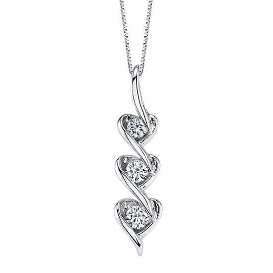 Womens 1/5 CT. T.W. Genuine White Diamond 14K White Gold Pendant