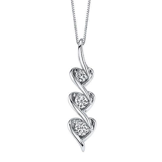 Womens 3/8 CT. T.W. Genuine White Diamond 14K White Gold Pendant