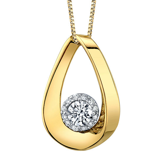 Womens 1/2 CT. T.W. Genuine White Diamond 14K Two Tone Gold Pendant