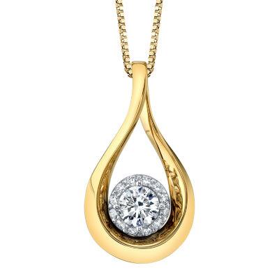 Womens 1/2 CT. T.W. Genuine White Diamond 10K Two Tone Gold Pendant