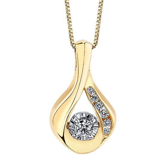 Womens 1/10 CT. T.W. Genuine White Diamond 10K Gold Round Pendant