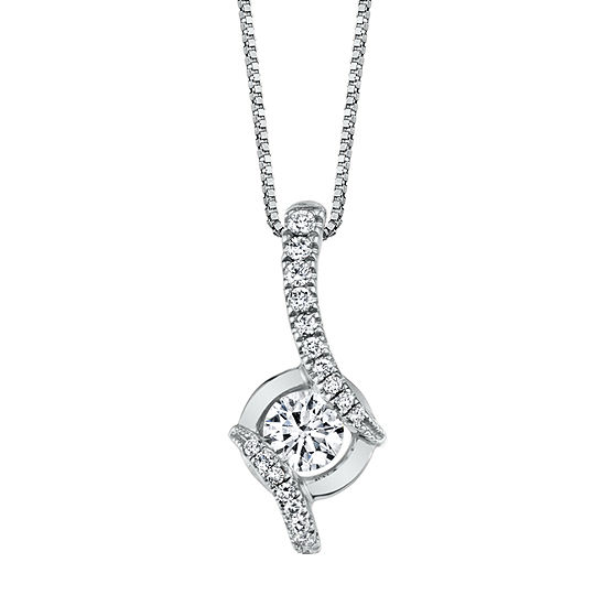 Womens 1/4 CT. T.W. Genuine White Diamond 14K White Gold Pendant