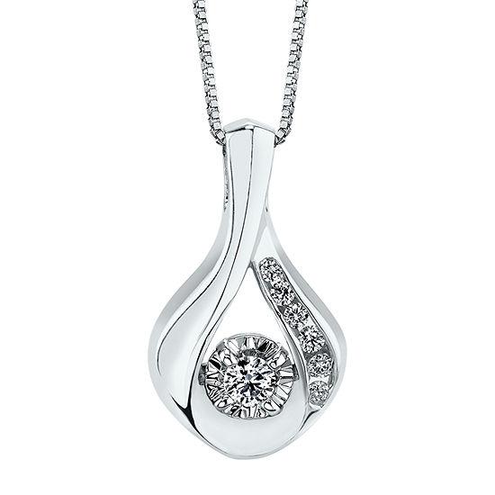 Womens 1/10 CT. T.W. Genuine White Diamond 14K White Gold Pendant