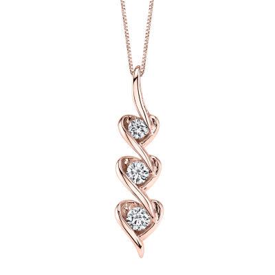 Womens 1/7 CT. T.W. Genuine White Diamond 10K Rose Gold Pendant